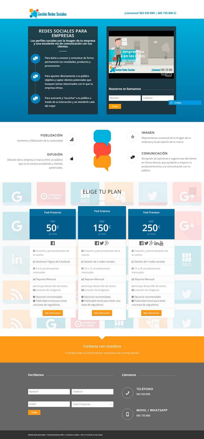Pagina Gestion Redes Sociales