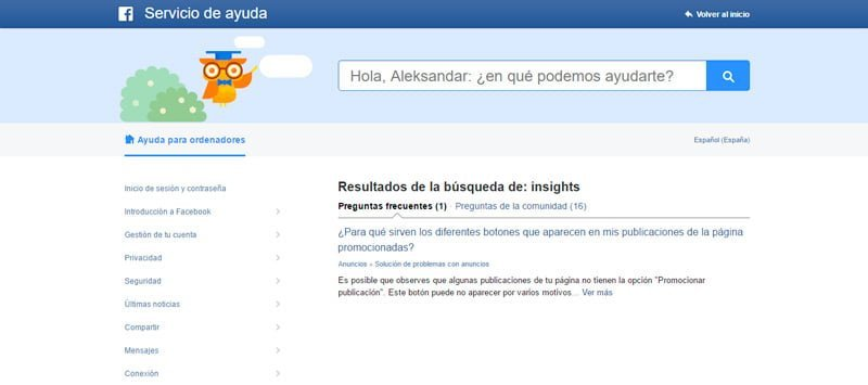 Pagina principal Facebook Insights