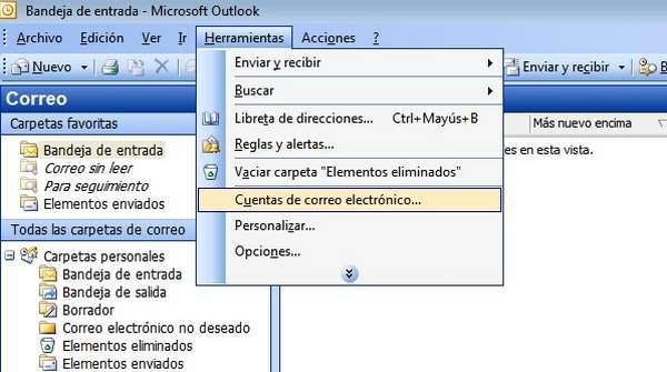 outlook 2003 herramientas