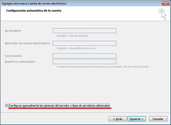 outlook 2007 configuracion manual