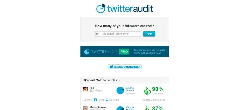 Pagina principal Twitteraudit