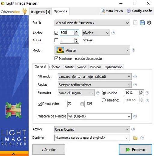 Cambio Tamaño imágen mediante Light Imagen Resizer