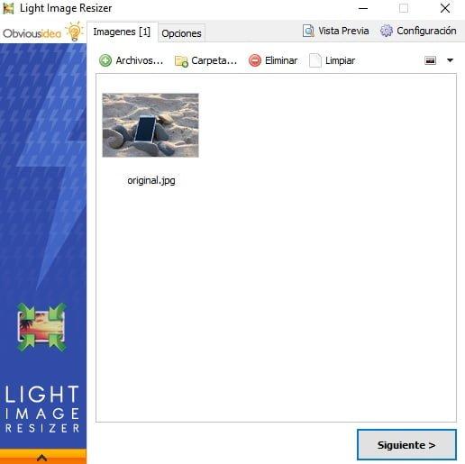 Seleccion imágen mediante Light Imagen Resizer