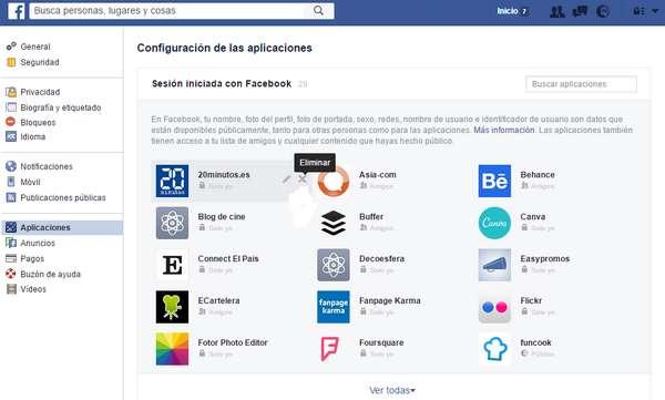 desactivar permisos Facebook