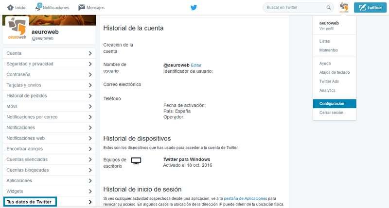 Configuración Twitter