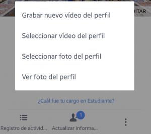 Vídeo como foto de perfil en Facebook