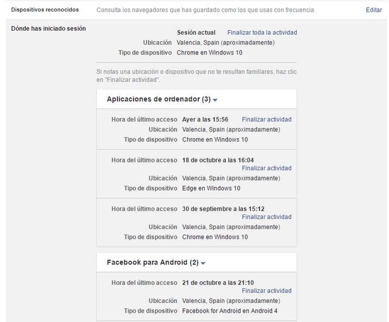 actividad de la cuenta Facebook