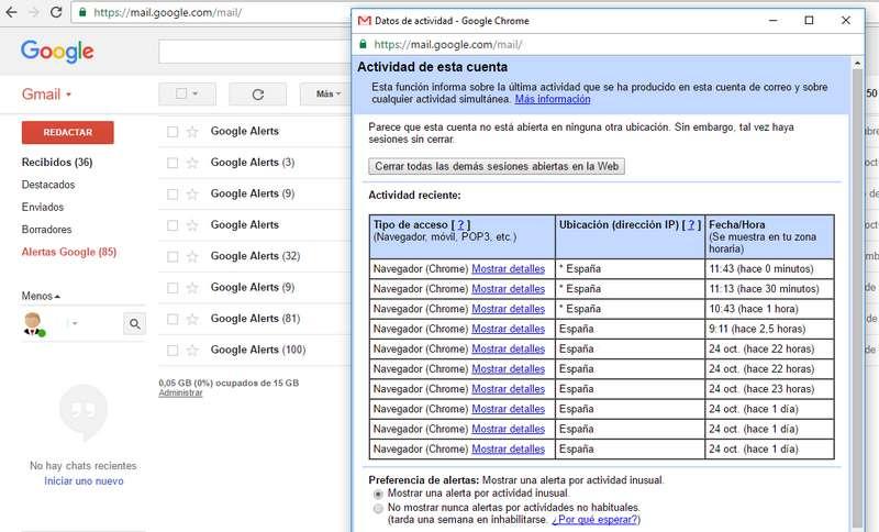actividad de la cuenta Gmail