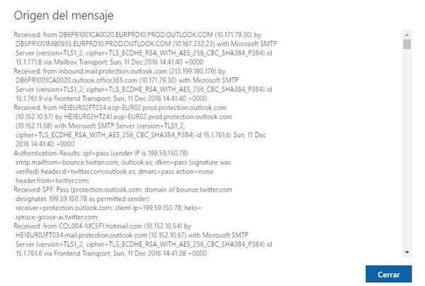 cabecera del correo electrónico