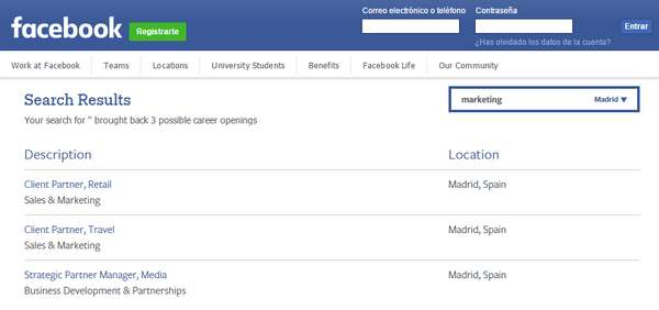 facebook careers ofertas