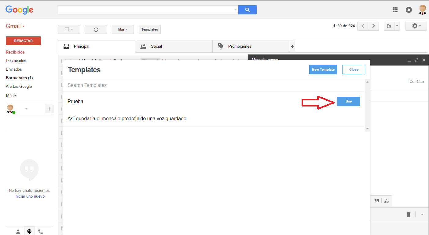 añadir plantilla gmail