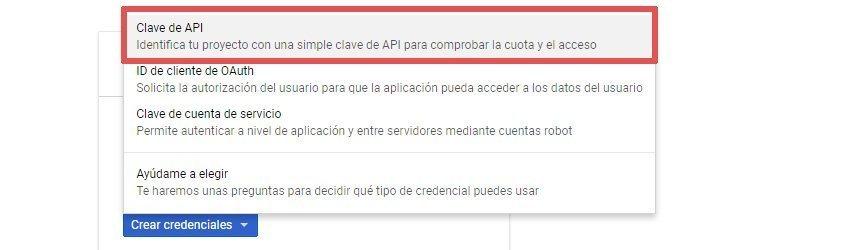 crear clave API