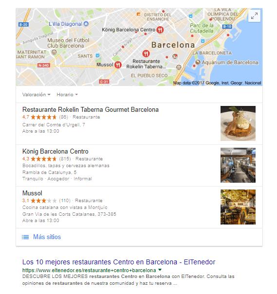 SEO Local búsqueda ejemplo
