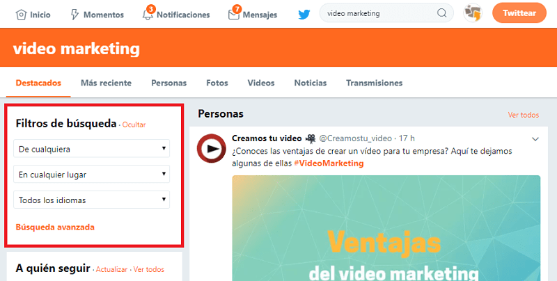 filtros Twitter