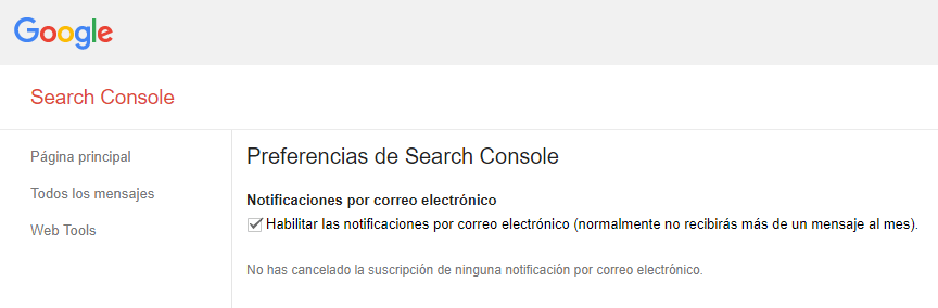 preferencias search console