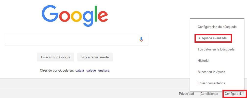 configurar busqueda avanzada google