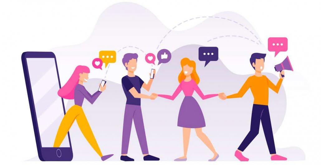 Ilustración de personas con móviles contentos por la experiencia usuario gracias al diseño responsive