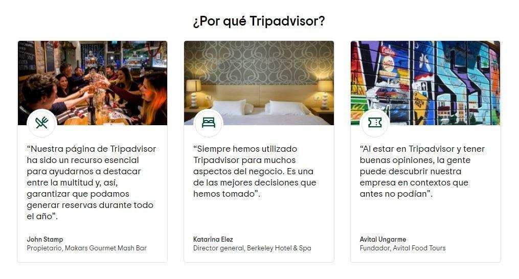 Pantallazo de algunas reseñas que recibe el portal TripAdvisor.