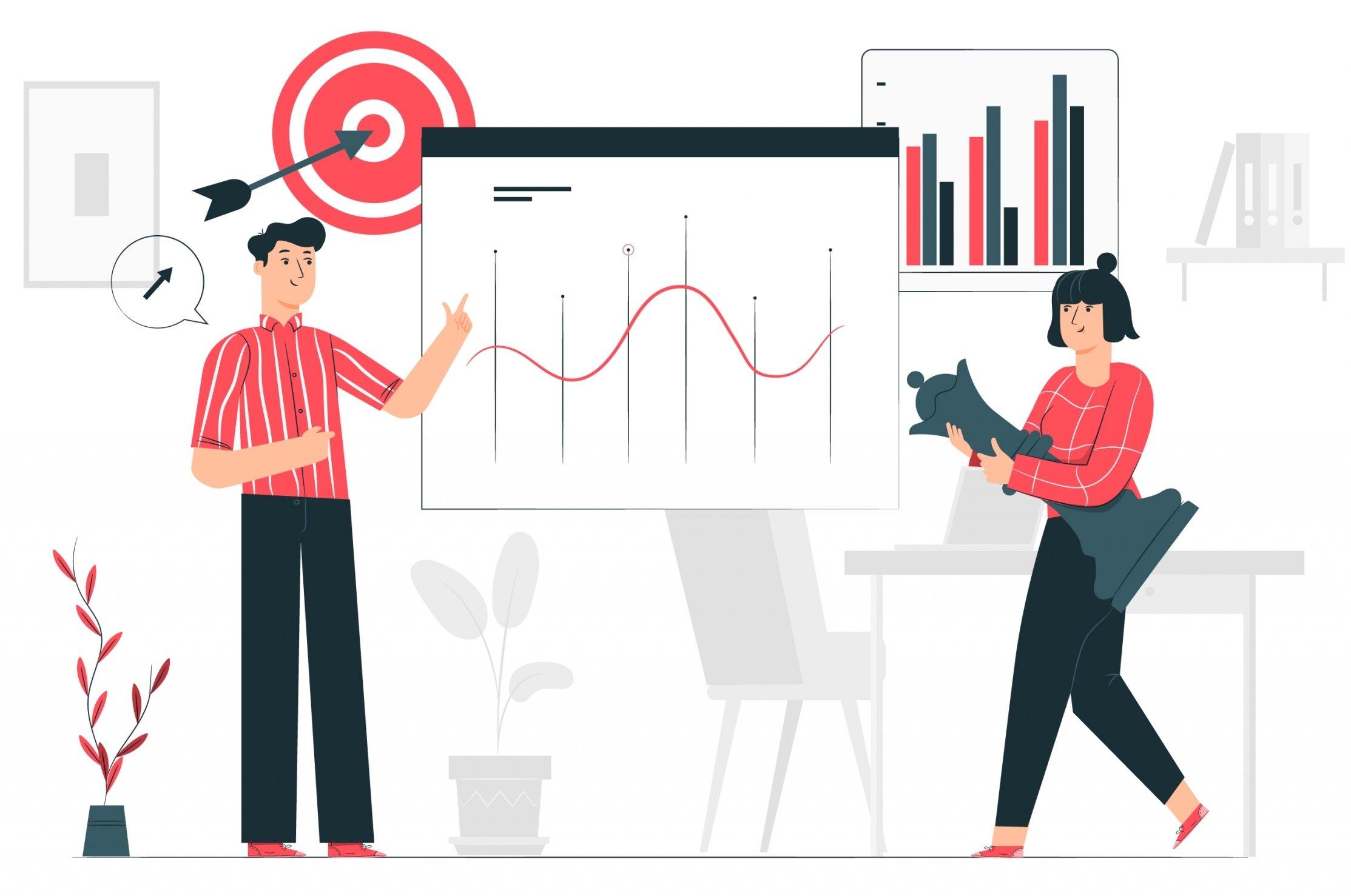 ilustración personas analizando resultados google ads