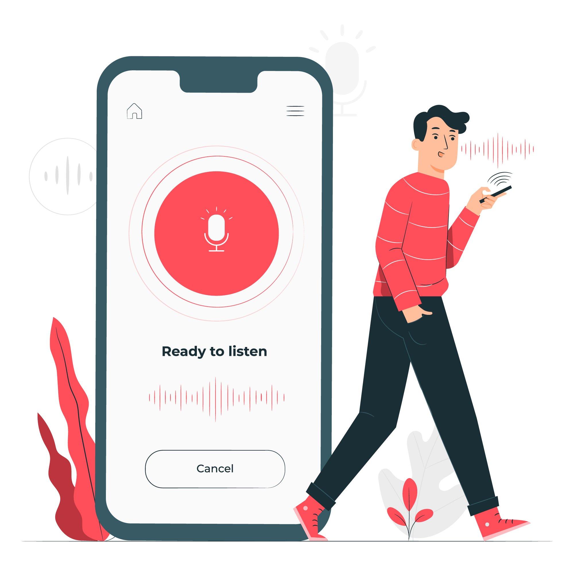 ilustración asistente de voz smartphone
