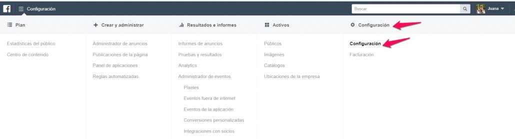 configuración cuenta publicidad facebook