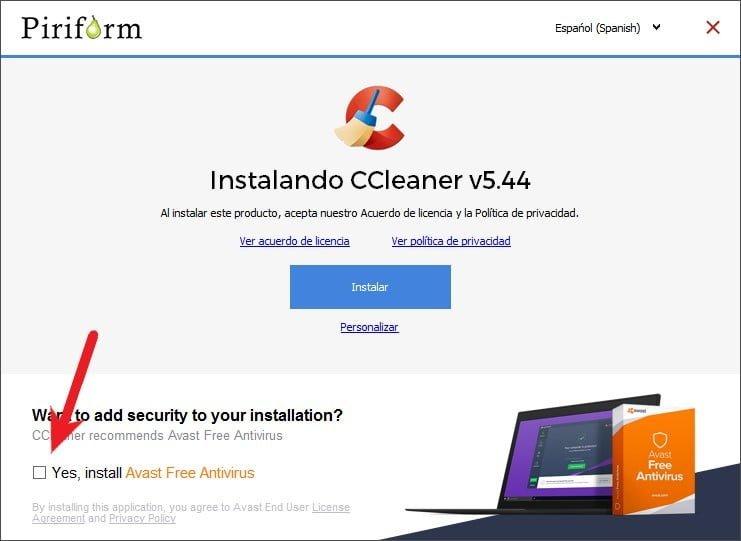 Interfaz de la instalación CCleaner