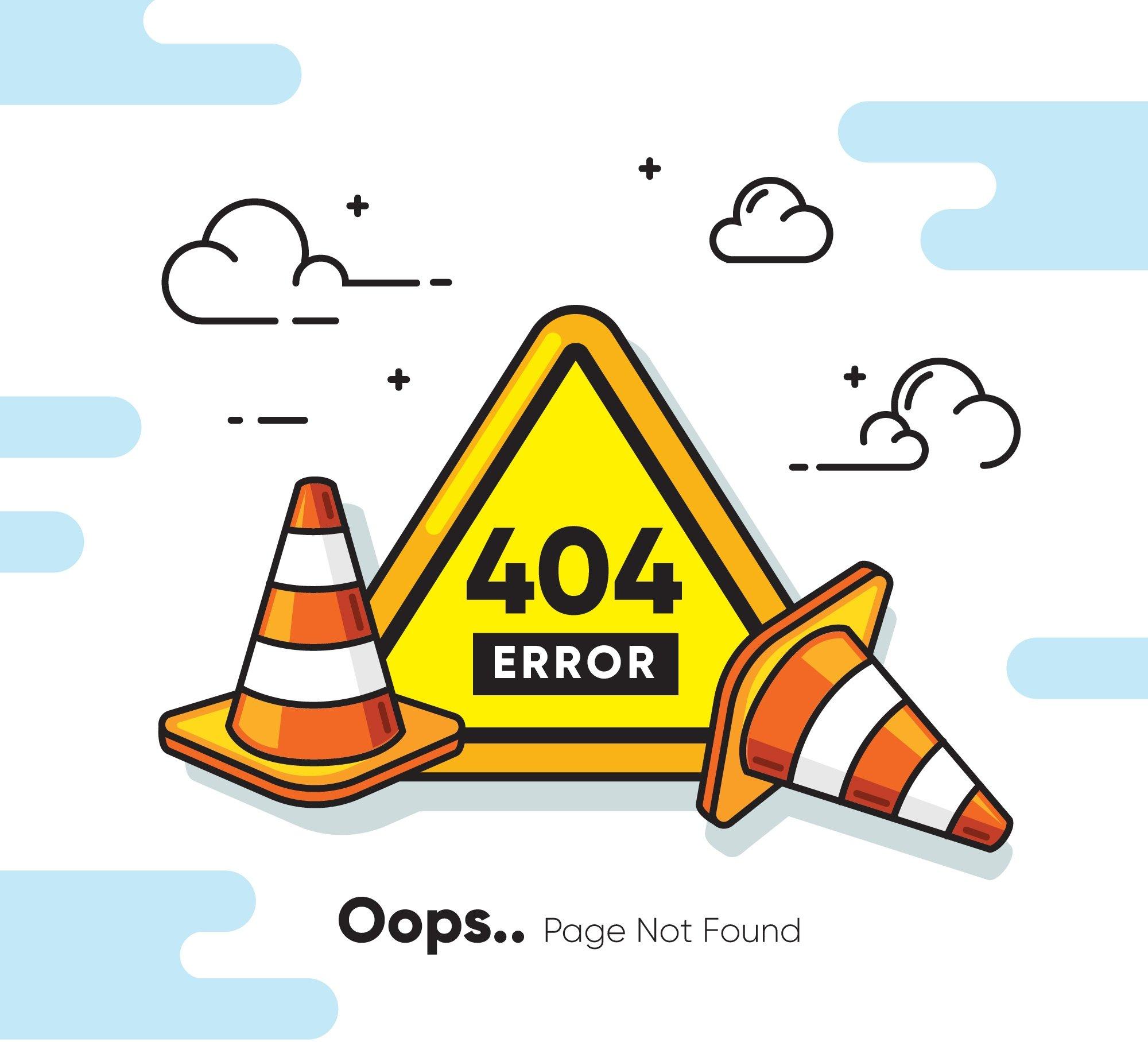 Ilustración error 404 página web no encontrada