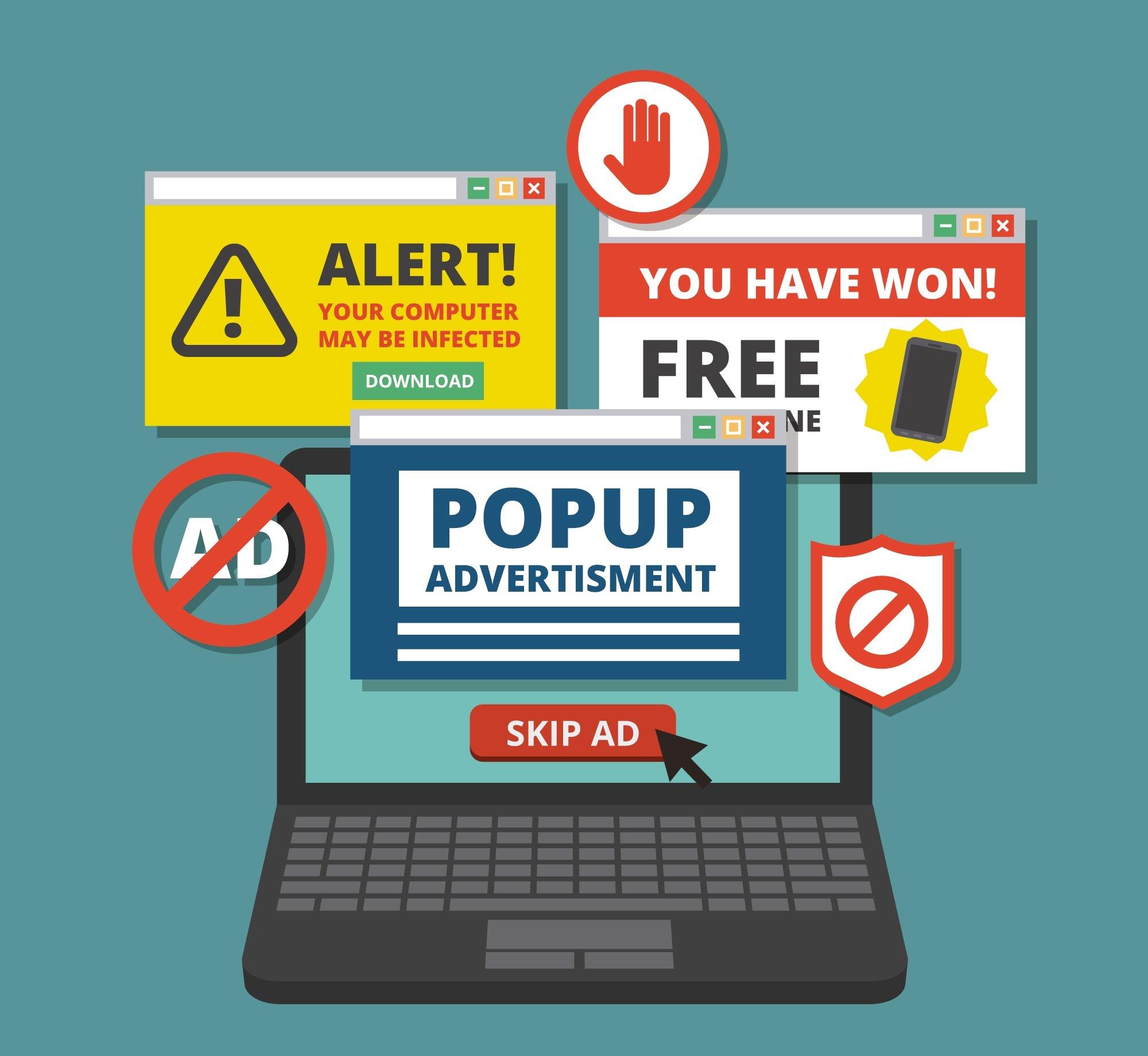 Fotografía ordenador en una web con muchos anuncios spam. Habría que aplicar estrategias link building.
