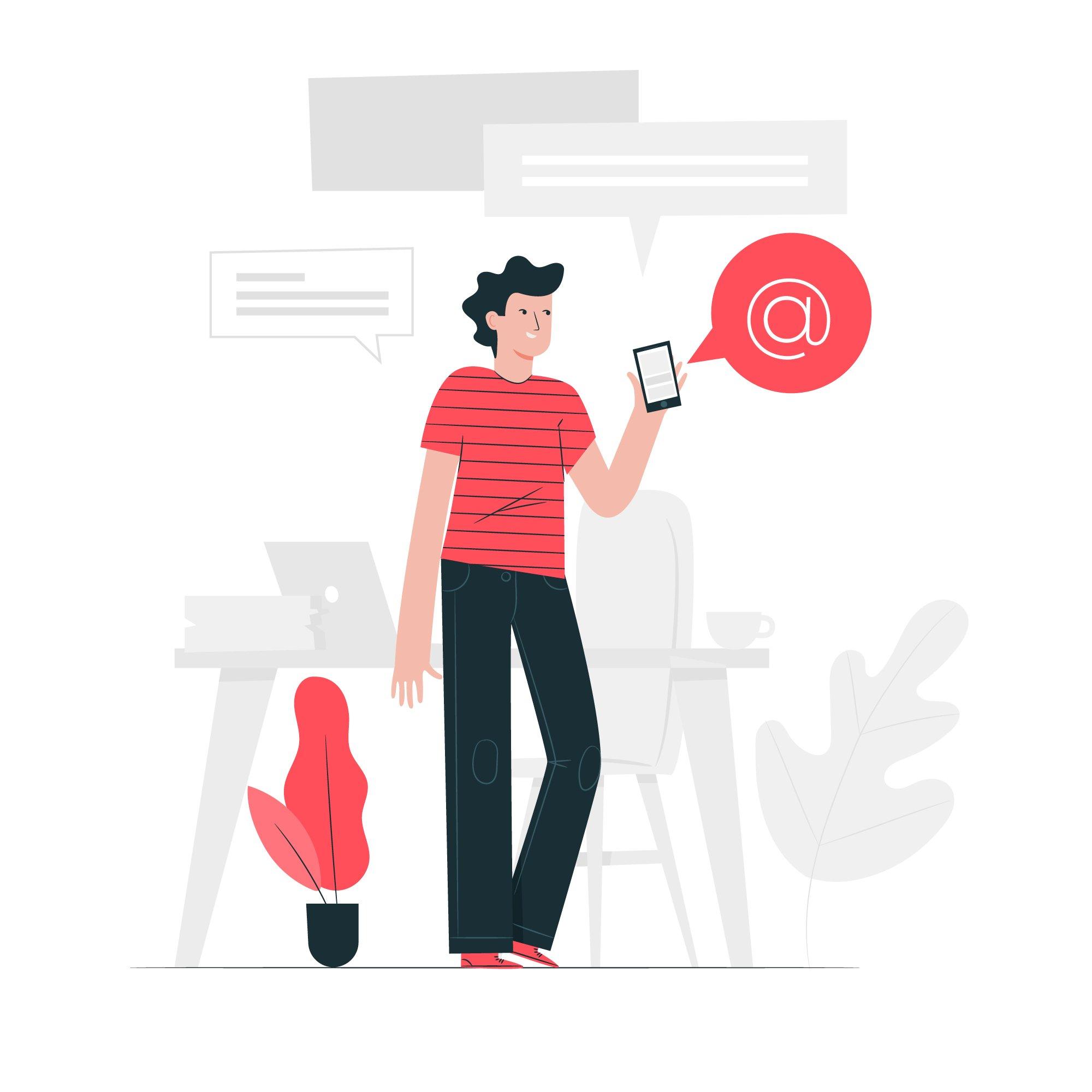 Ilustración mujer haciendo una mención en redes sociales