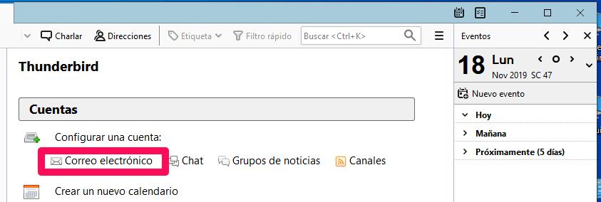 configurar nueva cuenta correo