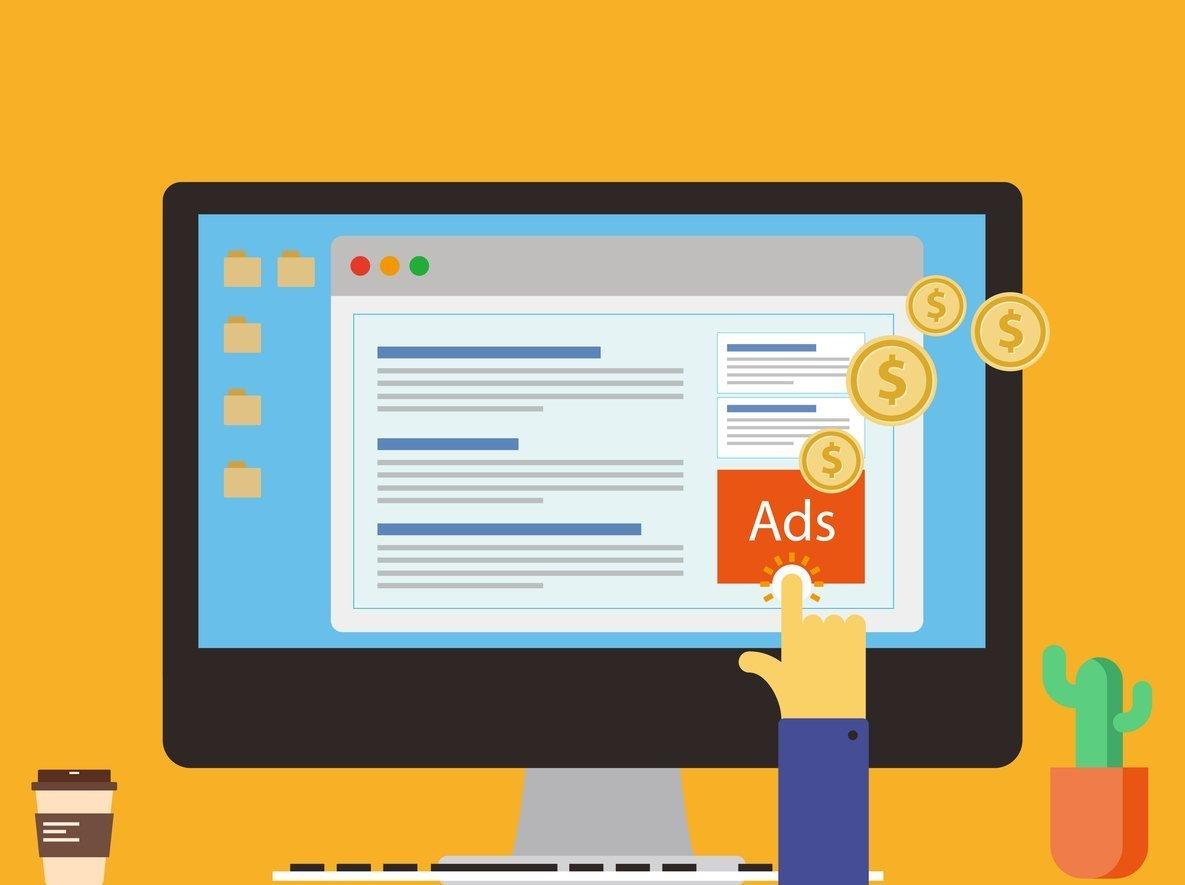 ilustración de un usuario haciendo click en un anuncio