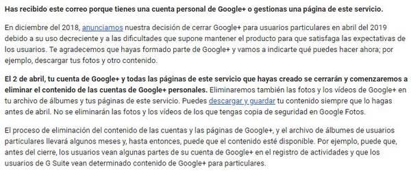 correo cierre google+