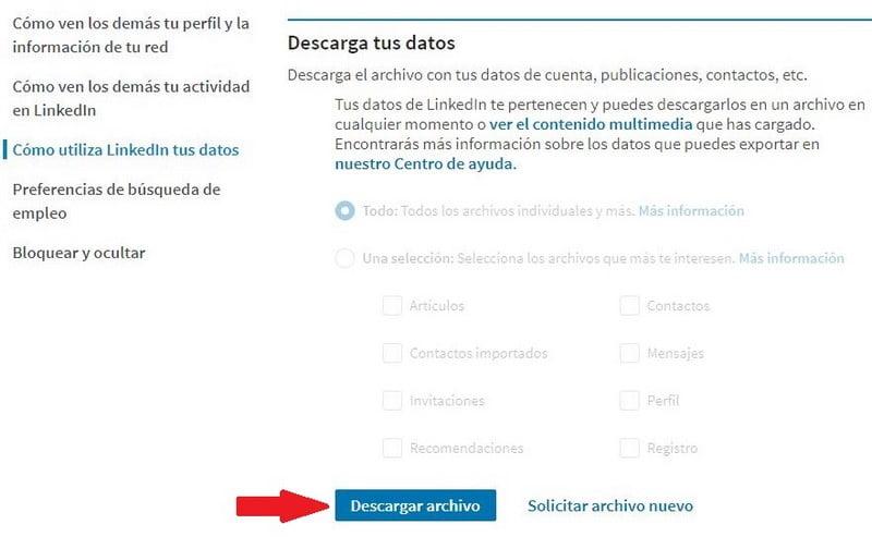 descargar archivo datos linkedin