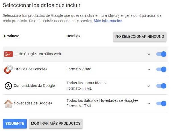 descargar datos google+