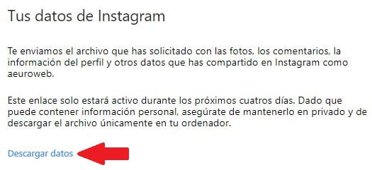 descargar datos instagram