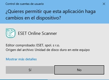 ejecutable ESET online scanner
