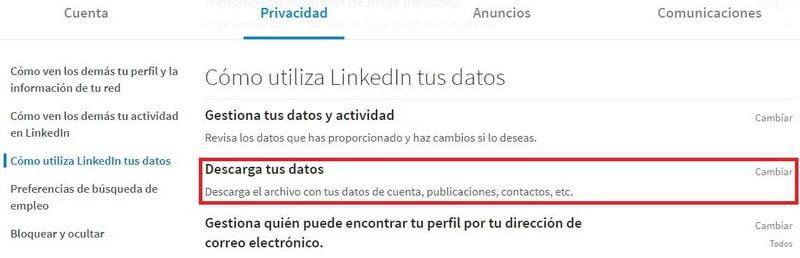 opcion descargar datos linkedin