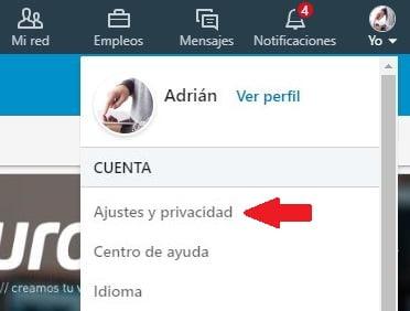 opciones perfil linkedin