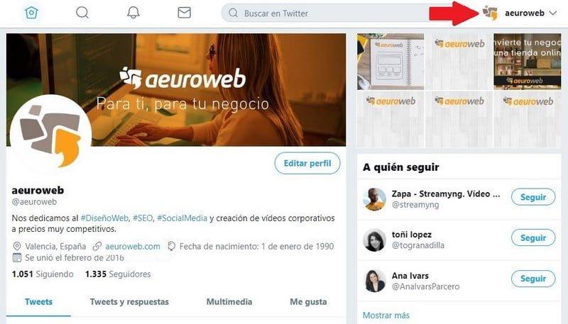 perfil twitter aeuroweb