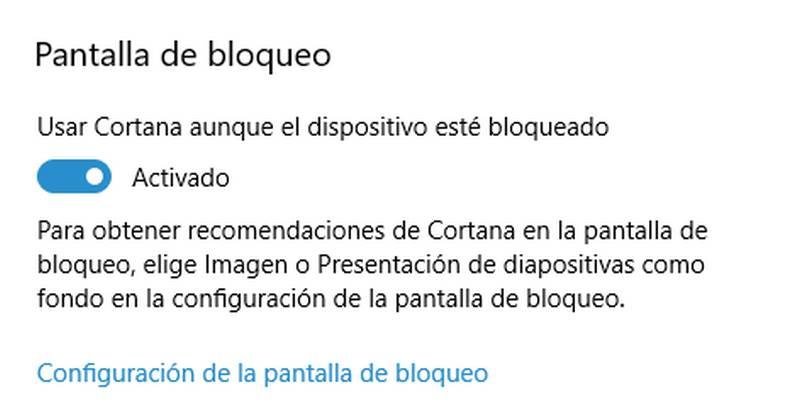 Activar Cortana en modo bloqueo