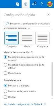 Acceder a configuración en Outlook