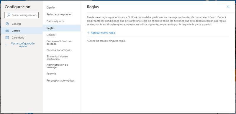 Crear nuevo filtro en Outlook