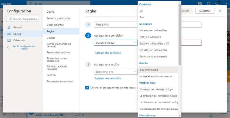 Formulario de Outlook para crear filtros