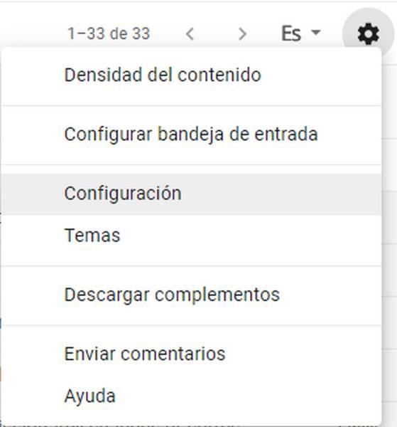 Acceder a configuración en Gmail