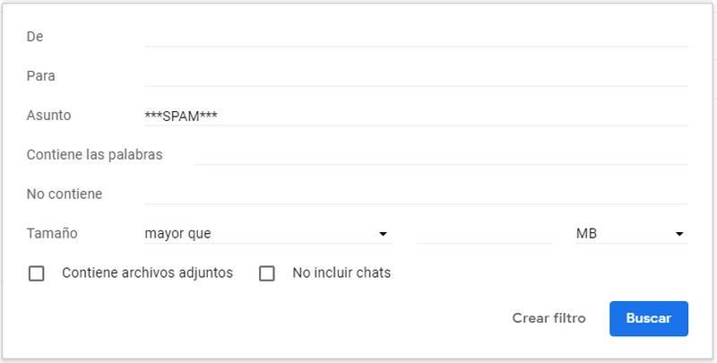 Formulario en Gmail para crear filtros
