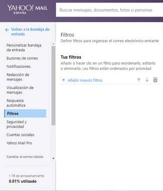 Filtros en Yahoo mail