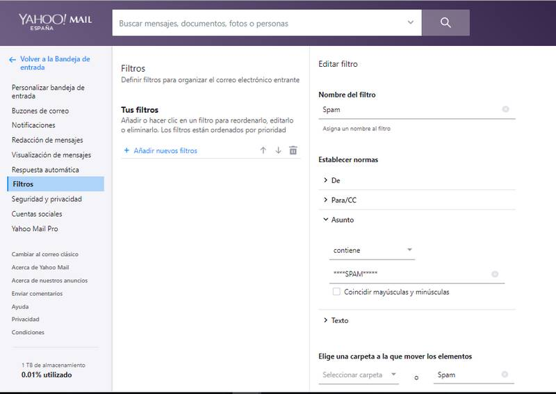 Formulario en Yahoo mail para crear filtros