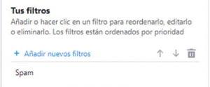 Lista de filtros Yahoo mail
