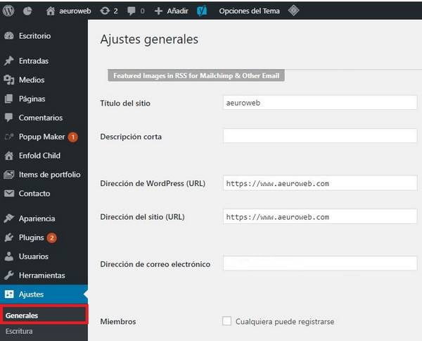 ajustes generales wordpress
