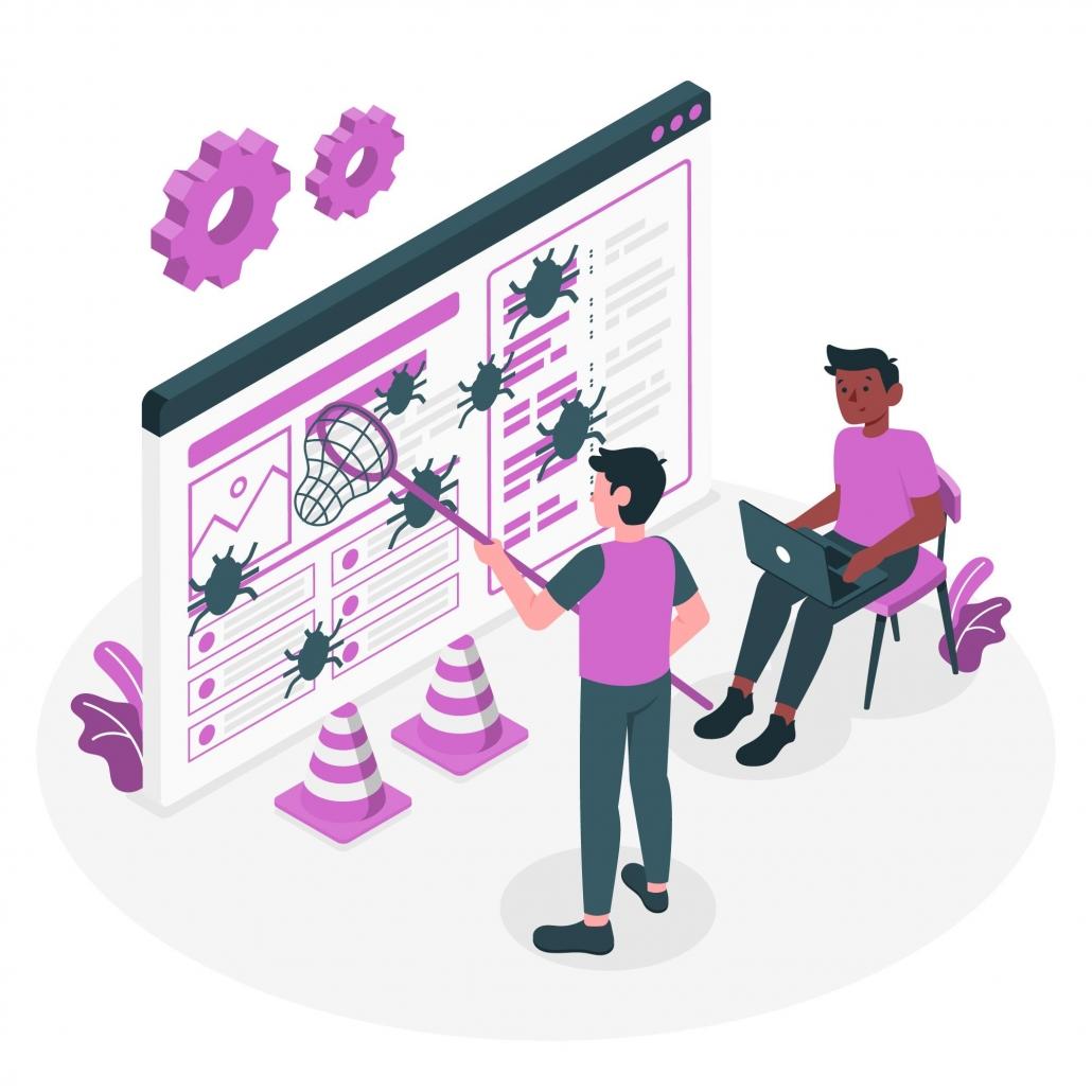 Ilustración de dos personas limpiando una web en INternet para mejorar la seguridad en WordPress